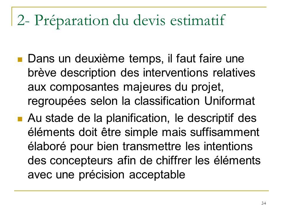 34 2- Préparation du devis estimatif Dans un deuxième temps, il faut faire une brève description des interventions relatives aux composantes majeures