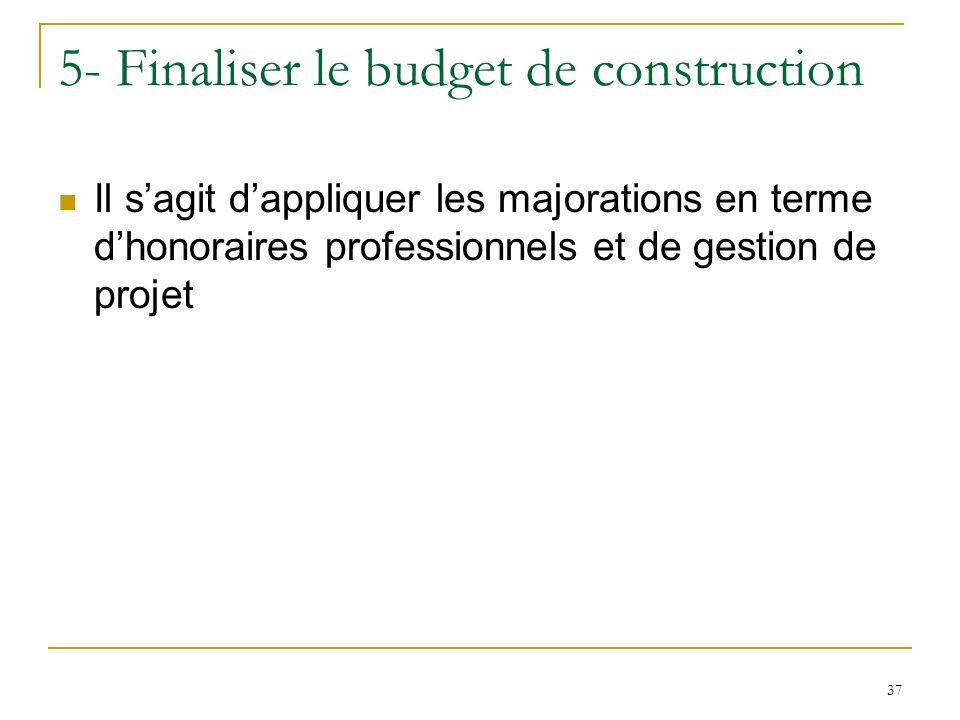37 5- Finaliser le budget de construction Il sagit dappliquer les majorations en terme dhonoraires professionnels et de gestion de projet
