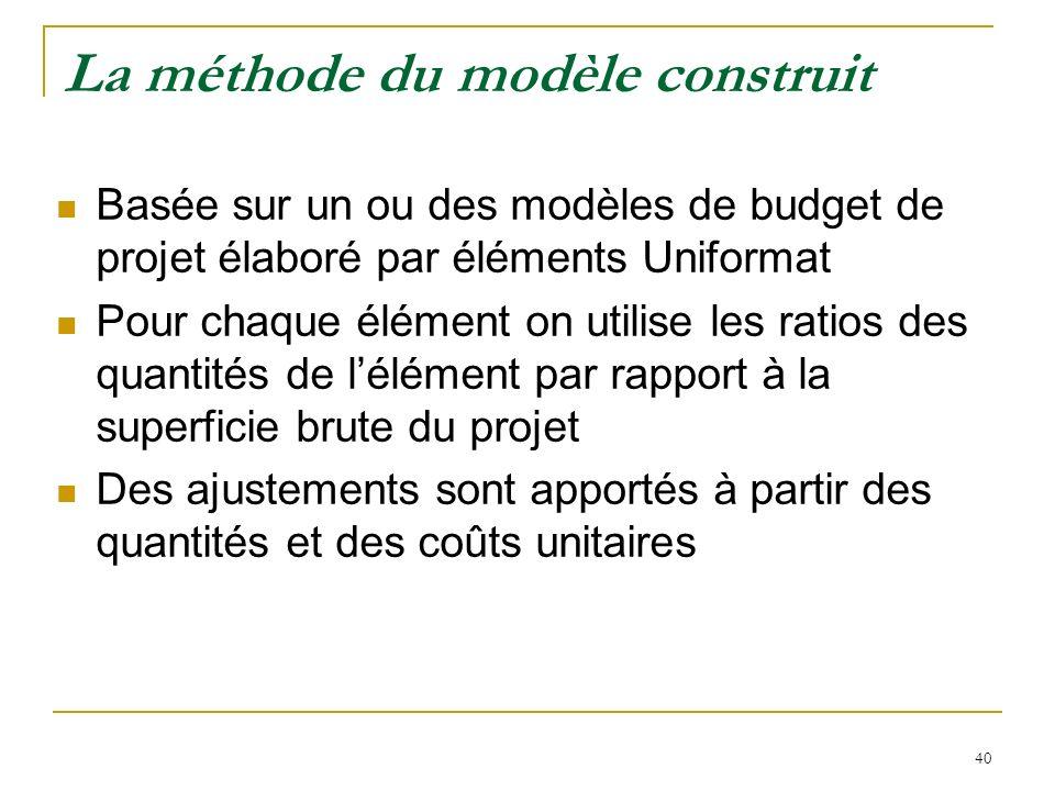 40 La méthode du modèle construit Basée sur un ou des modèles de budget de projet élaboré par éléments Uniformat Pour chaque élément on utilise les ra