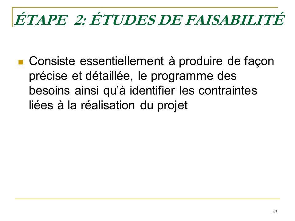 43 ÉTAPE 2: ÉTUDES DE FAISABILITÉ Consiste essentiellement à produire de façon précise et détaillée, le programme des besoins ainsi quà identifier les