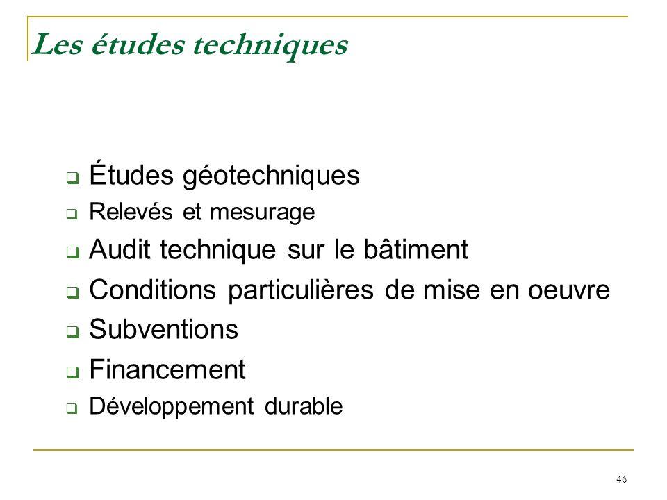 46 Les études techniques Études géotechniques Relevés et mesurage Audit technique sur le bâtiment Conditions particulières de mise en oeuvre Subventio