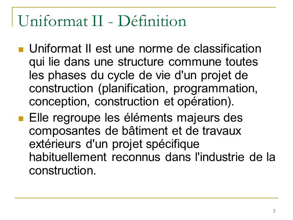 5 Uniformat II - Définition Uniformat II est une norme de classification qui lie dans une structure commune toutes les phases du cycle de vie d'un pro