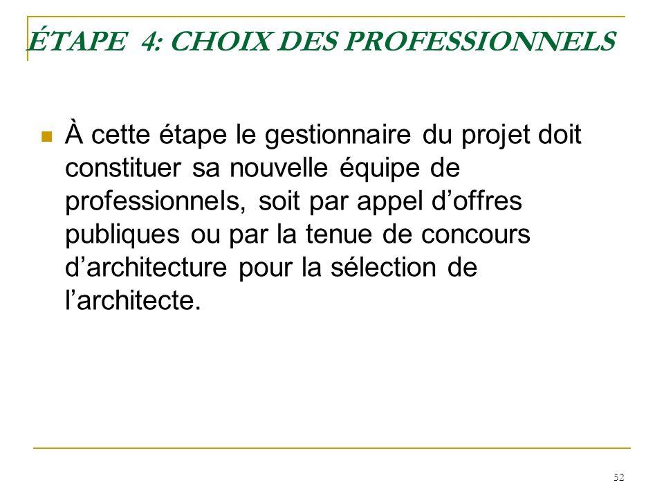 52 ÉTAPE 4: CHOIX DES PROFESSIONNELS À cette étape le gestionnaire du projet doit constituer sa nouvelle équipe de professionnels, soit par appel doff