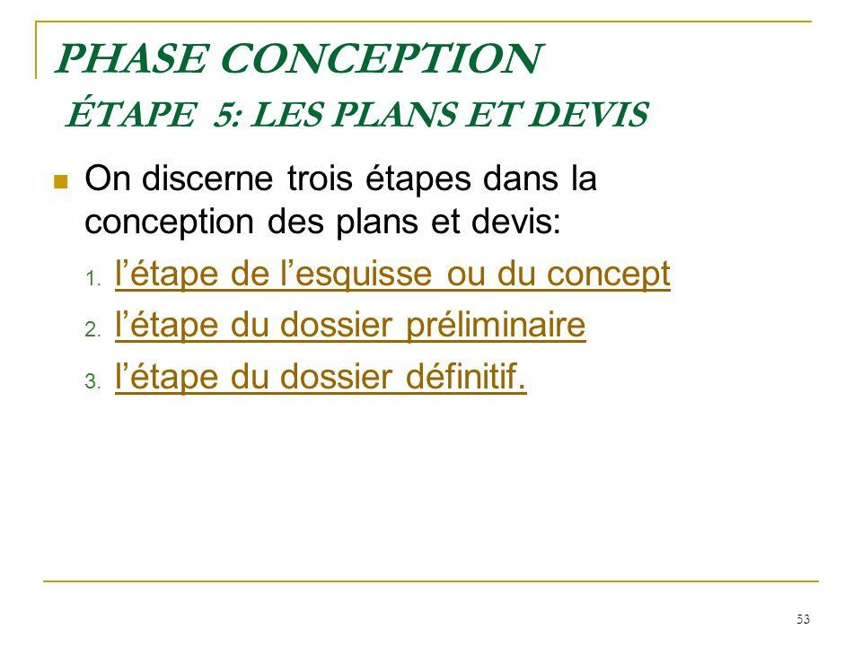 53 PHASE CONCEPTION ÉTAPE 5: LES PLANS ET DEVIS On discerne trois étapes dans la conception des plans et devis: 1. létape de lesquisse ou du concept l