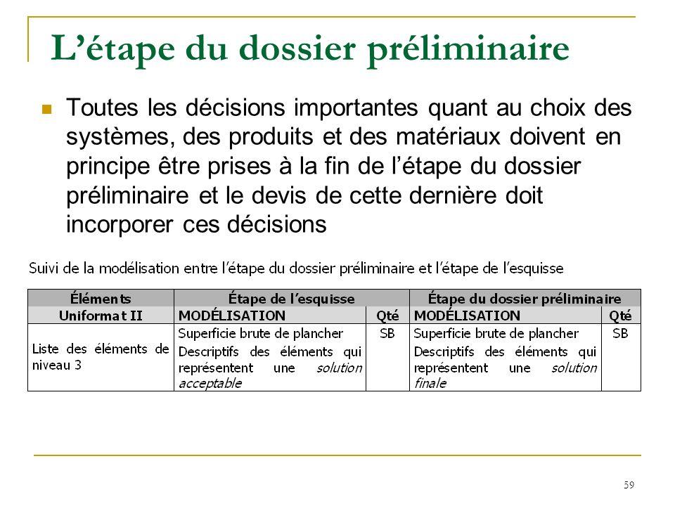 59 Létape du dossier préliminaire Toutes les décisions importantes quant au choix des systèmes, des produits et des matériaux doivent en principe être