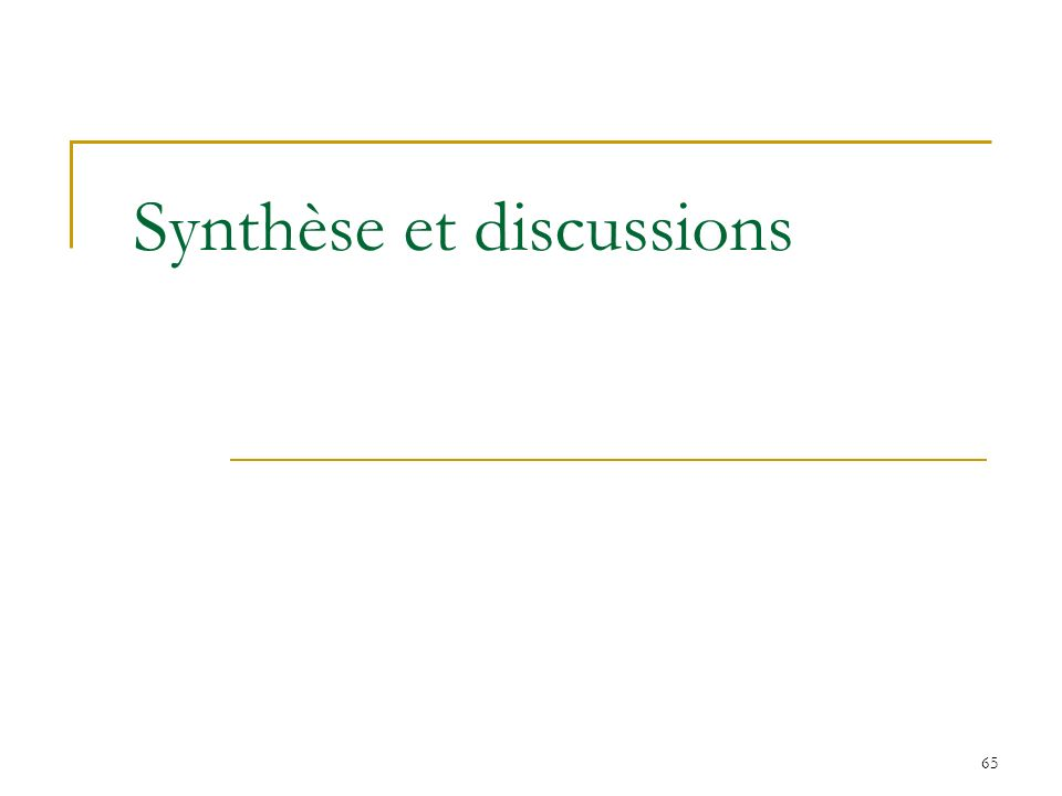 65 Synthèse et discussions