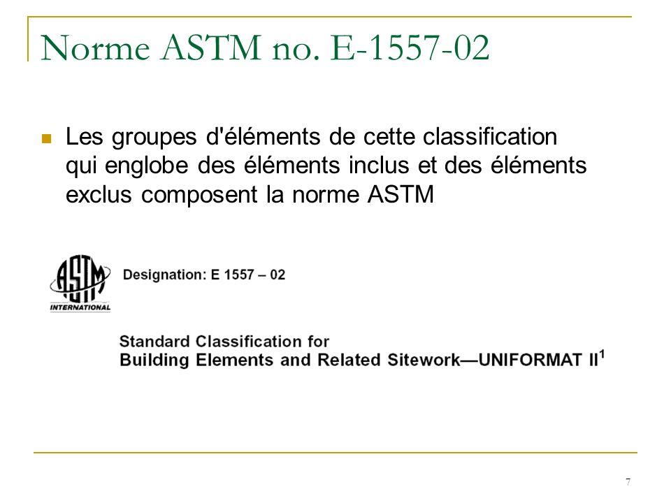 7 Norme ASTM no. E-1557-02 Les groupes d'éléments de cette classification qui englobe des éléments inclus et des éléments exclus composent la norme AS