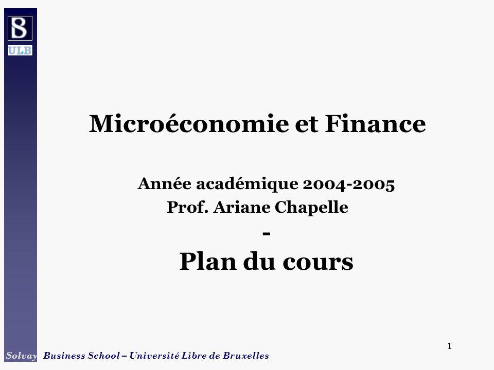1 Solvay Business School – Université Libre de Bruxelles 1 Microéconomie et Finance Année académique 2004-2005 Prof. Ariane Chapelle - Plan du cours
