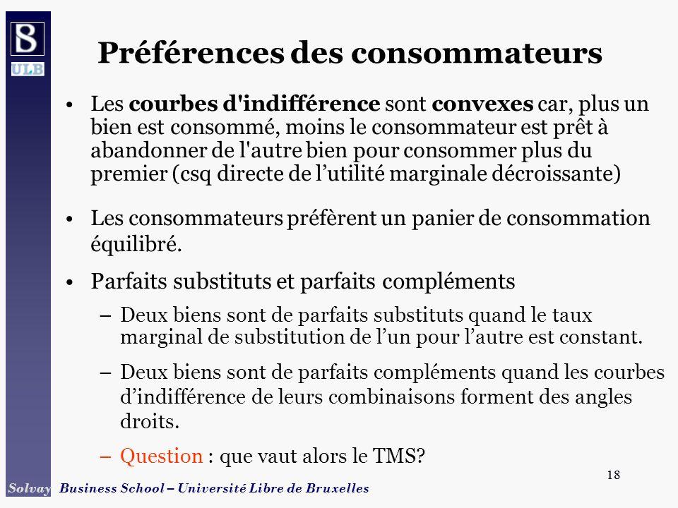 18 Solvay Business School – Université Libre de Bruxelles 18 Préférences des consommateurs Les courbes d'indifférence sont convexes car, plus un bien