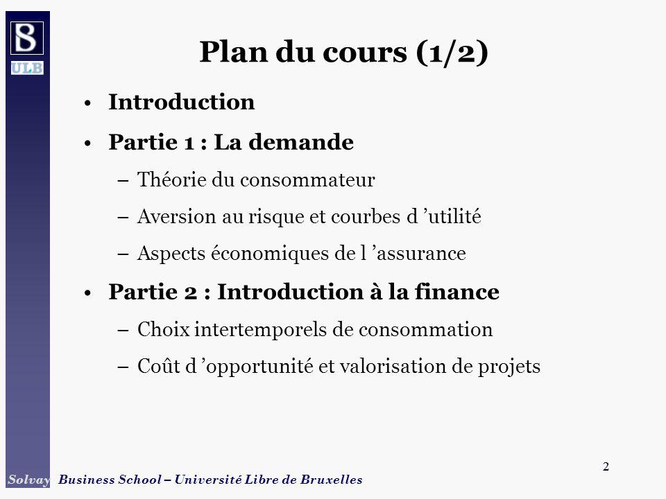 2 Solvay Business School – Université Libre de Bruxelles 2 Plan du cours (1/2) Introduction Partie 1 : La demande –Théorie du consommateur –Aversion a