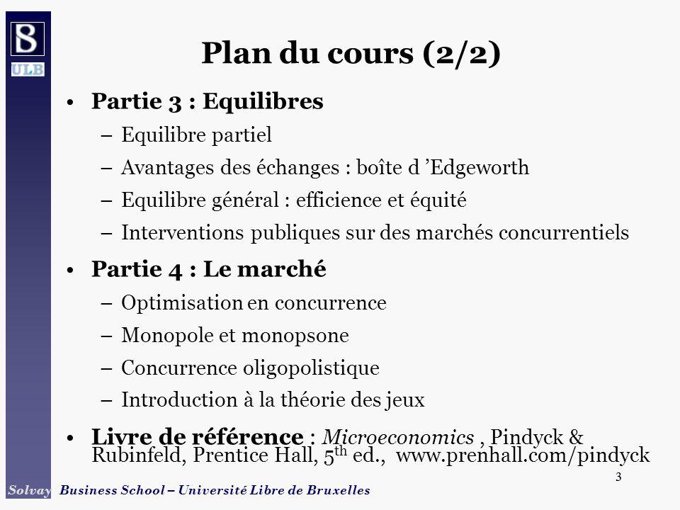 3 Solvay Business School – Université Libre de Bruxelles 3 Plan du cours (2/2) Partie 3 : Equilibres –Equilibre partiel –Avantages des échanges : boît