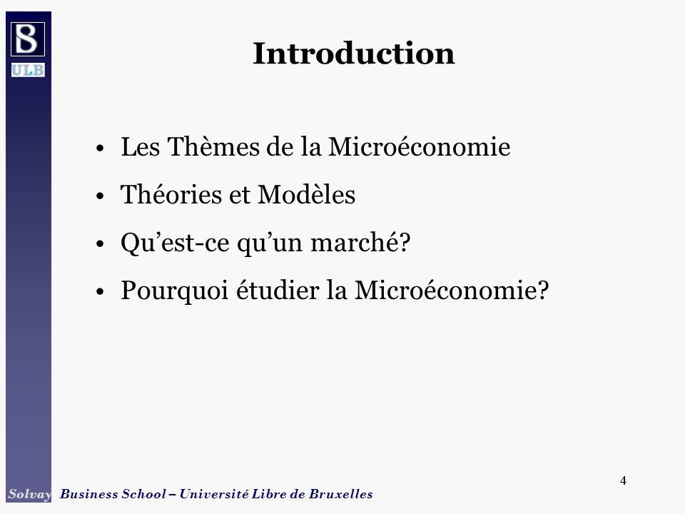 4 Solvay Business School – Université Libre de Bruxelles 4 Introduction Les Thèmes de la Microéconomie Théories et Modèles Quest-ce quun marché? Pourq