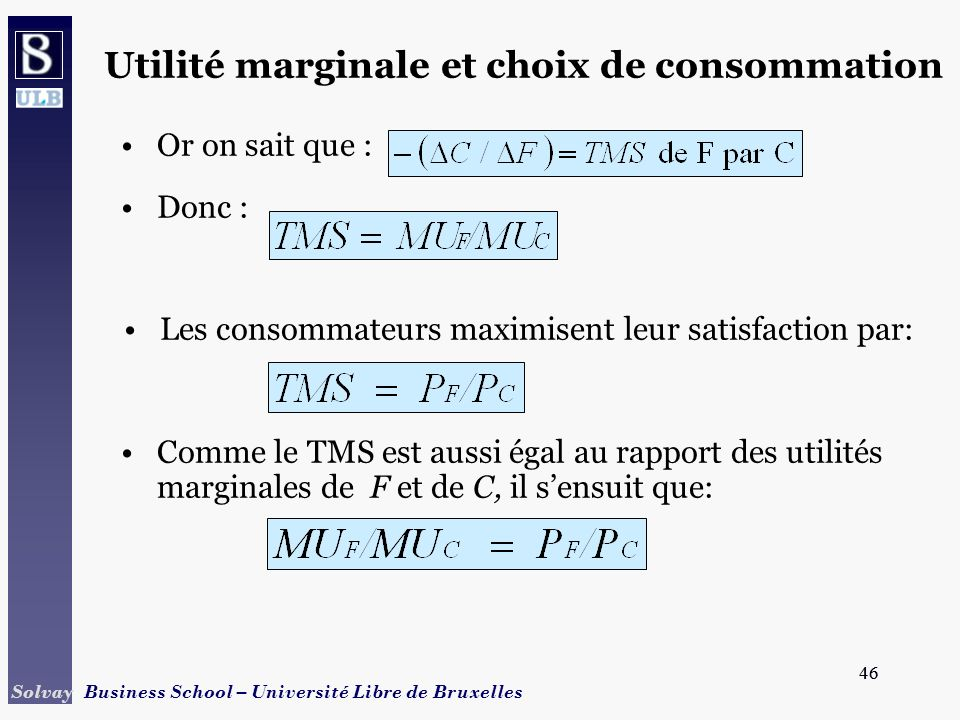 46 Solvay Business School – Université Libre de Bruxelles 46 Or on sait que : Donc : Les consommateurs maximisent leur satisfaction par: Comme le TMS