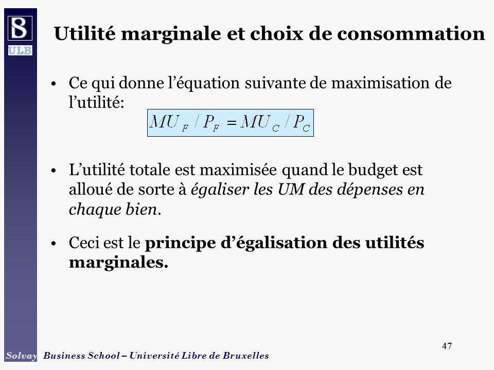 47 Solvay Business School – Université Libre de Bruxelles 47 Ce qui donne léquation suivante de maximisation de lutilité: Lutilité totale est maximisé
