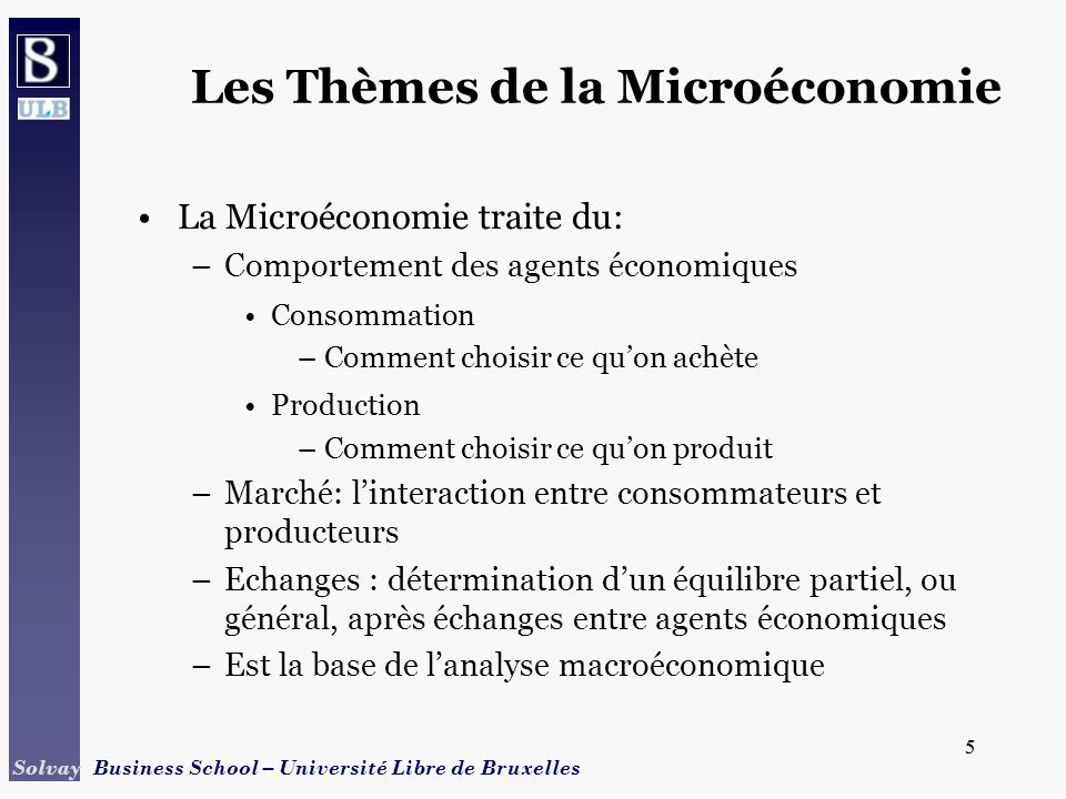 5 Solvay Business School – Université Libre de Bruxelles 5 La Microéconomie traite du: –Comportement des agents économiques Consommation –Comment choi