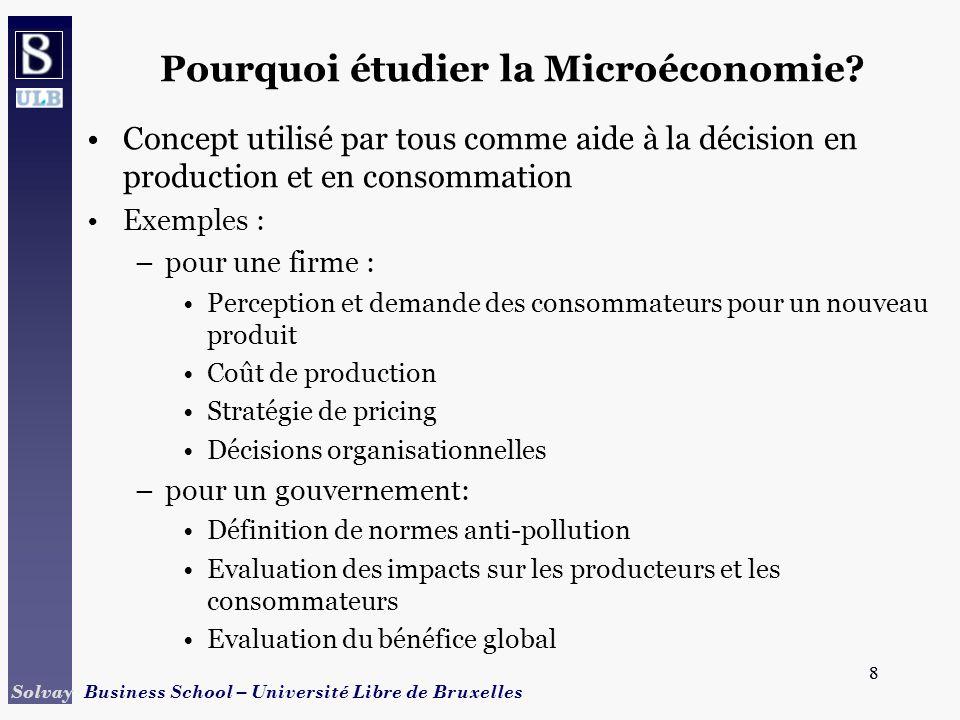8 Solvay Business School – Université Libre de Bruxelles 8 Pourquoi étudier la Microéconomie? Concept utilisé par tous comme aide à la décision en pro