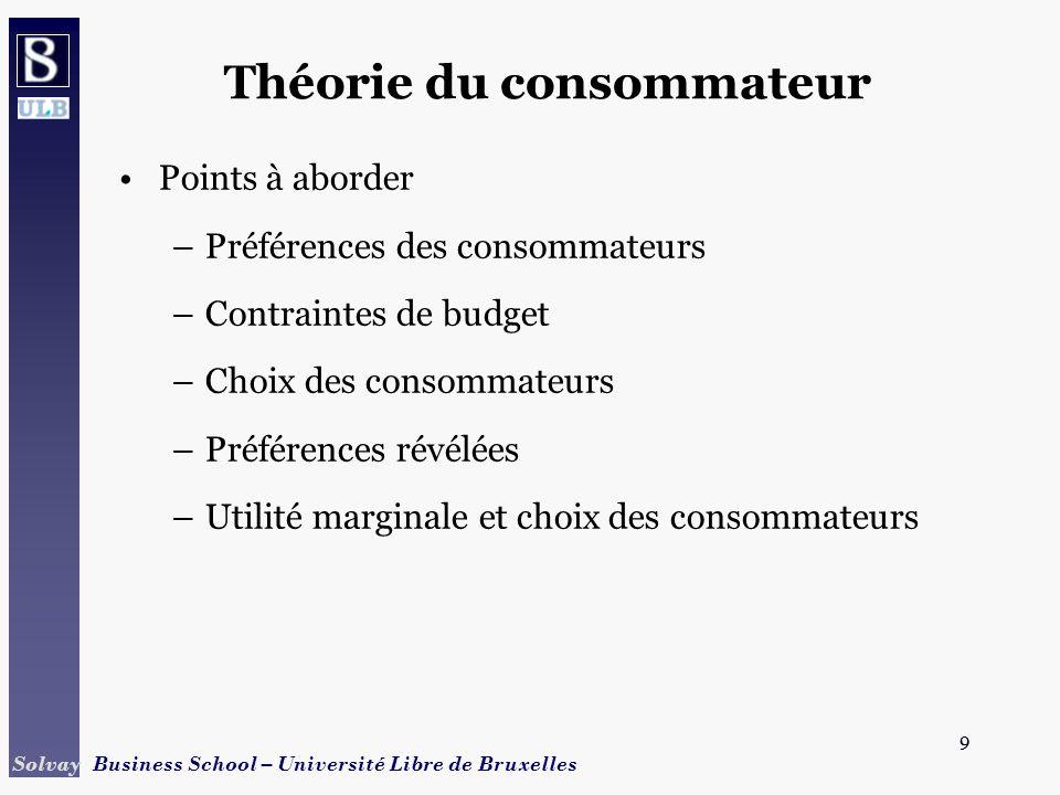 9 Solvay Business School – Université Libre de Bruxelles 9 Théorie du consommateur Points à aborder –Préférences des consommateurs –Contraintes de bud