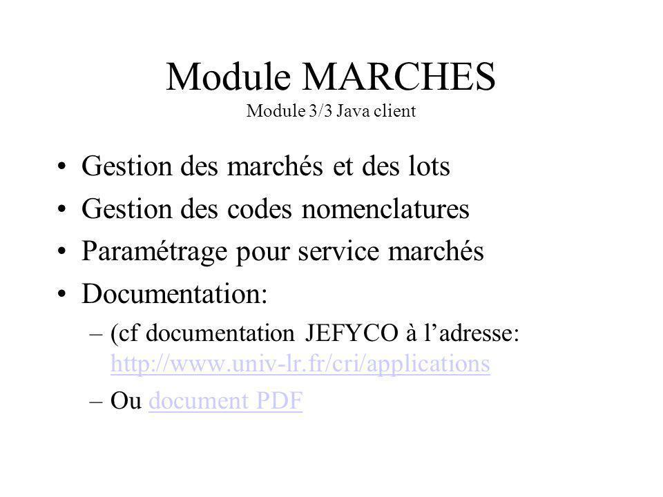Module MARCHES Module 3/3 Java client Gestion des marchés et des lots Gestion des codes nomenclatures Paramétrage pour service marchés Documentation: