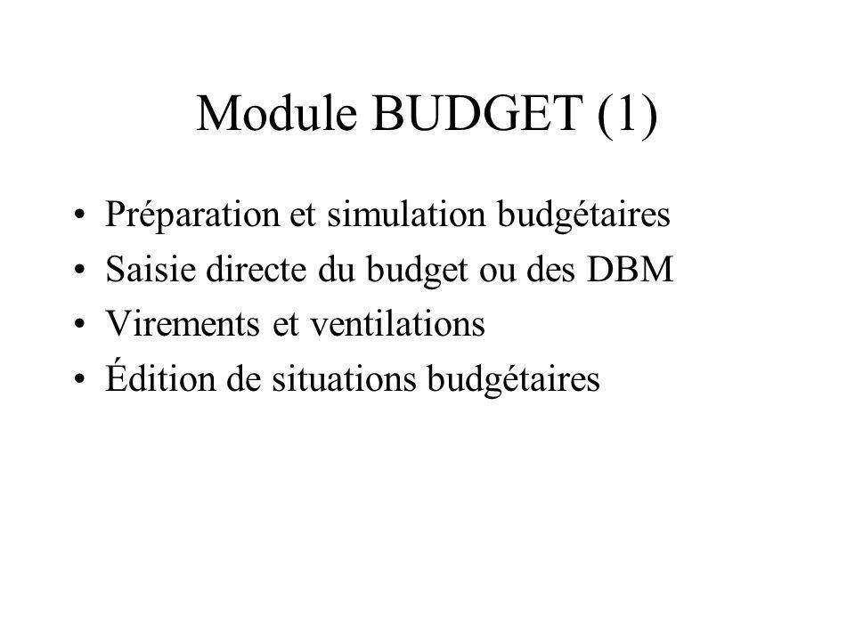 Module BUDGET (1) Préparation et simulation budgétaires Saisie directe du budget ou des DBM Virements et ventilations Édition de situations budgétaire