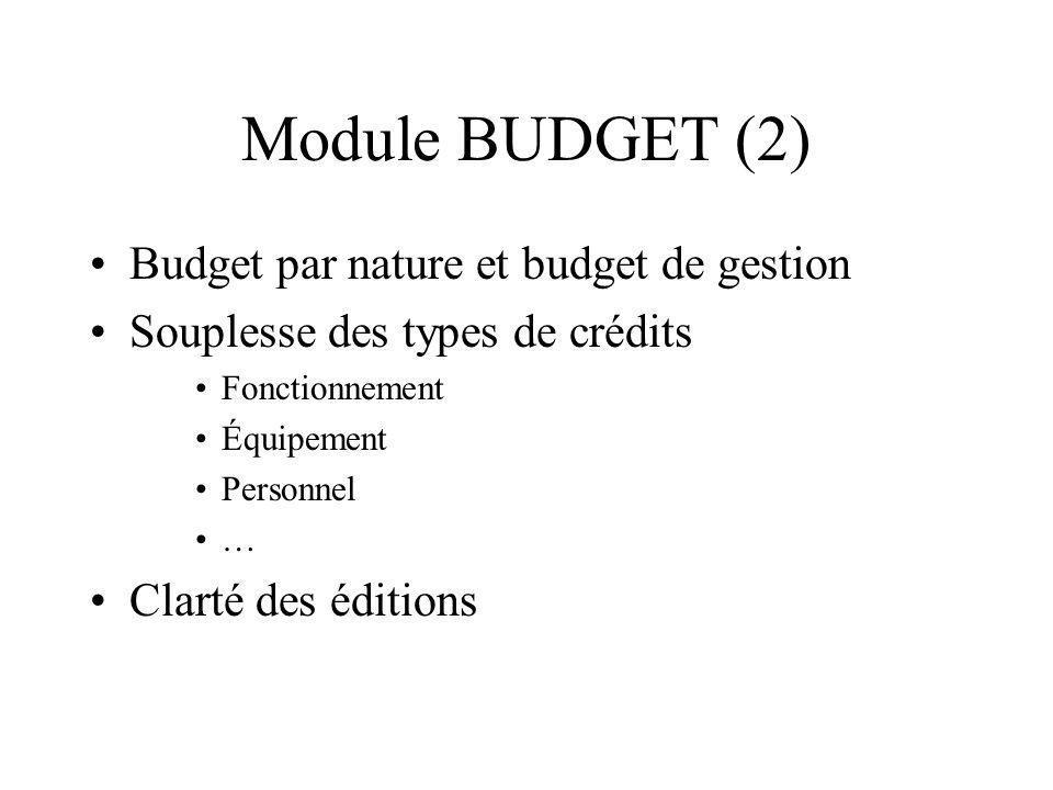 Module BUDGET (2) Budget par nature et budget de gestion Souplesse des types de crédits Fonctionnement Équipement Personnel … Clarté des éditions