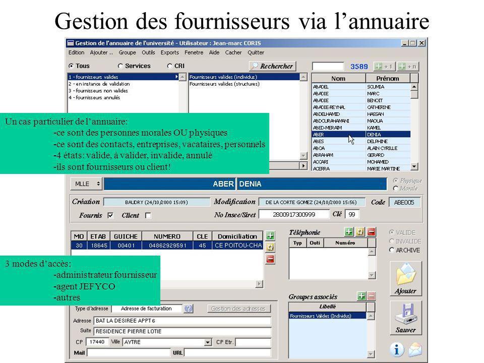 Gestion des fournisseurs via lannuaire 3 modes daccès: -administrateur fournisseur -agent JEFYCO -autres Un cas particulier de lannuaire: -ce sont des