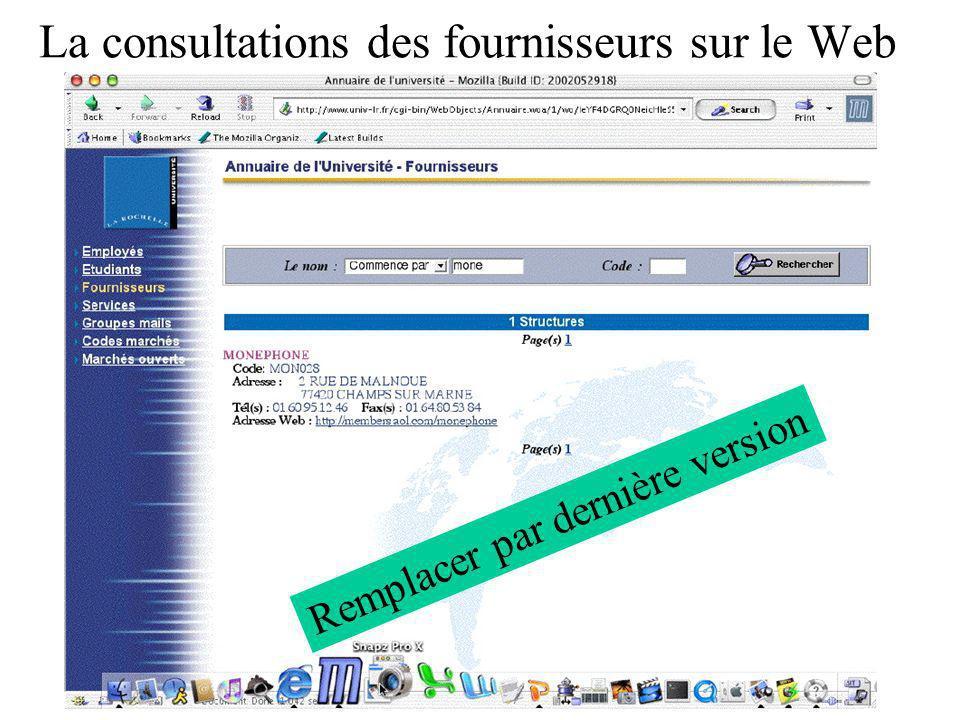 La consultations des fournisseurs sur le Web Remplacer par dernière version