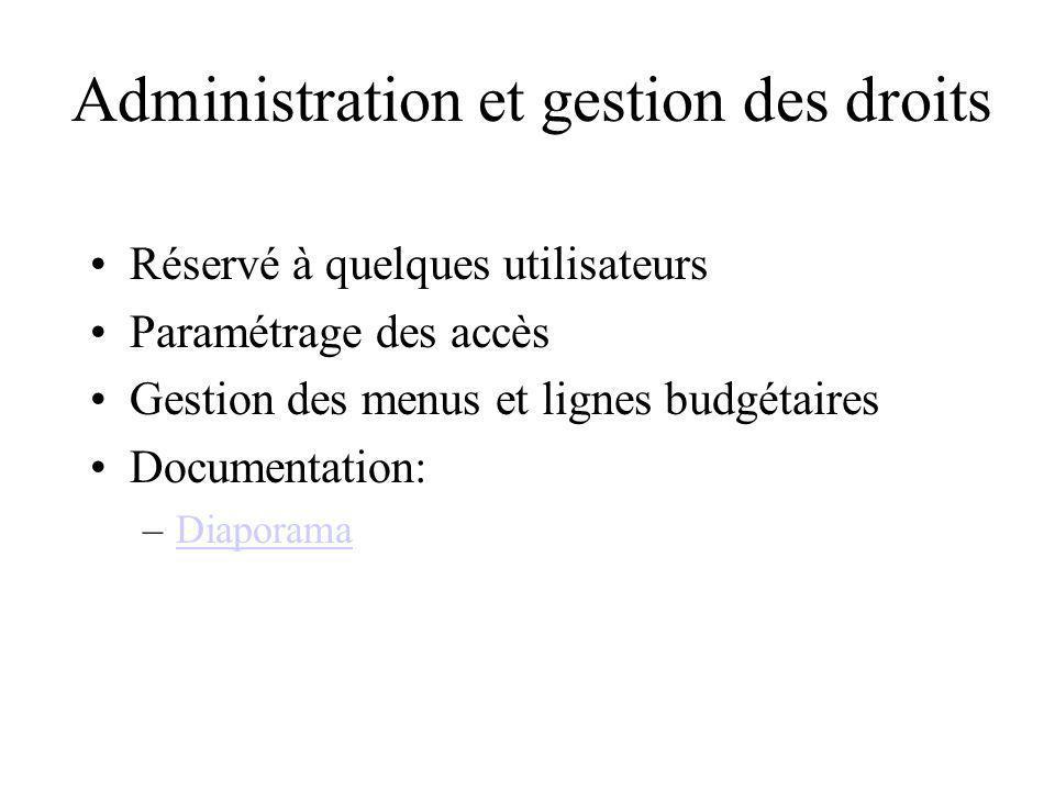 Administration et gestion des droits Réservé à quelques utilisateurs Paramétrage des accès Gestion des menus et lignes budgétaires Documentation: –Dia