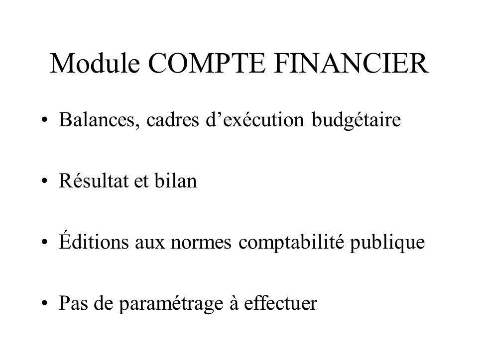 Module COMPTE FINANCIER Balances, cadres dexécution budgétaire Résultat et bilan Éditions aux normes comptabilité publique Pas de paramétrage à effect