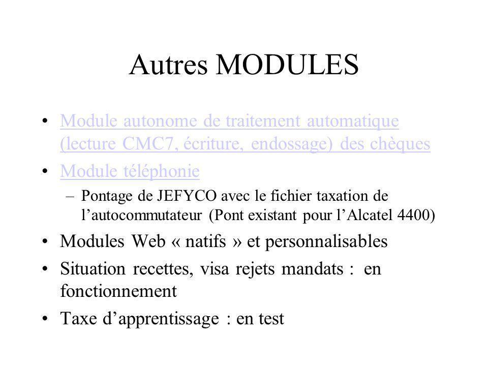Autres MODULES Module autonome de traitement automatique (lecture CMC7, écriture, endossage) des chèquesModule autonome de traitement automatique (lec