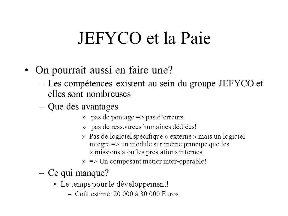 JEFYCO et la Paie On pourrait aussi en faire une? –Les compétences existent au sein du groupe JEFYCO et elles sont nombreuses –Que des avantages » pas
