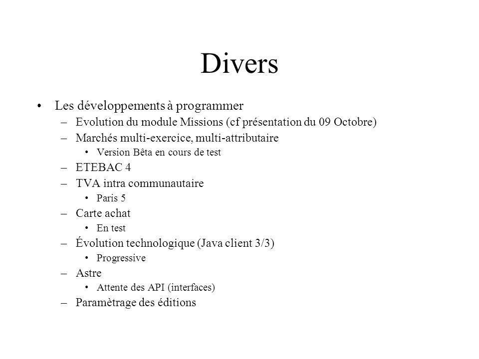 Divers Les développements à programmer –Evolution du module Missions (cf présentation du 09 Octobre) –Marchés multi-exercice, multi-attributaire Versi