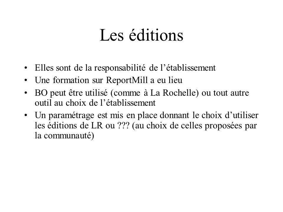 Les éditions Elles sont de la responsabilité de létablissement Une formation sur ReportMill a eu lieu BO peut être utilisé (comme à La Rochelle) ou to