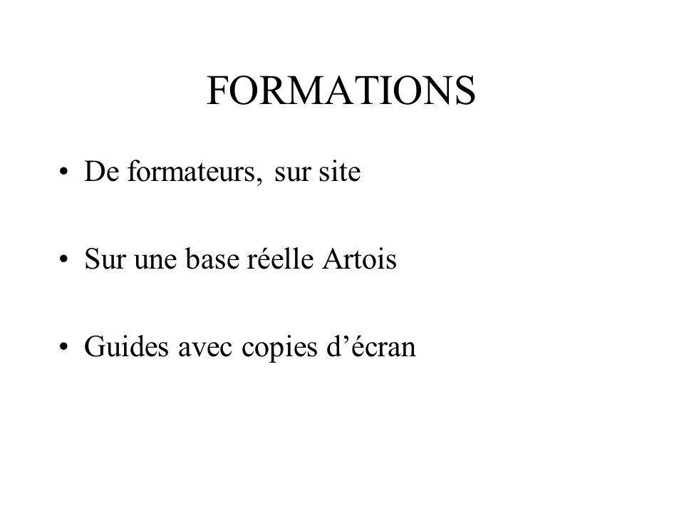 FORMATIONS De formateurs, sur site Sur une base réelle Artois Guides avec copies décran