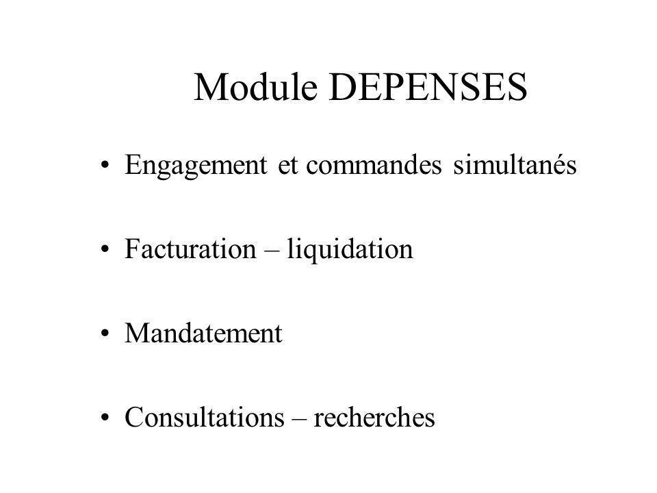 Module DEPENSES Gestion des codes nomenclatures marchés Notion de catalogues produits Saisie dinformations analytiques possible Sécurité des contrôles automatiques