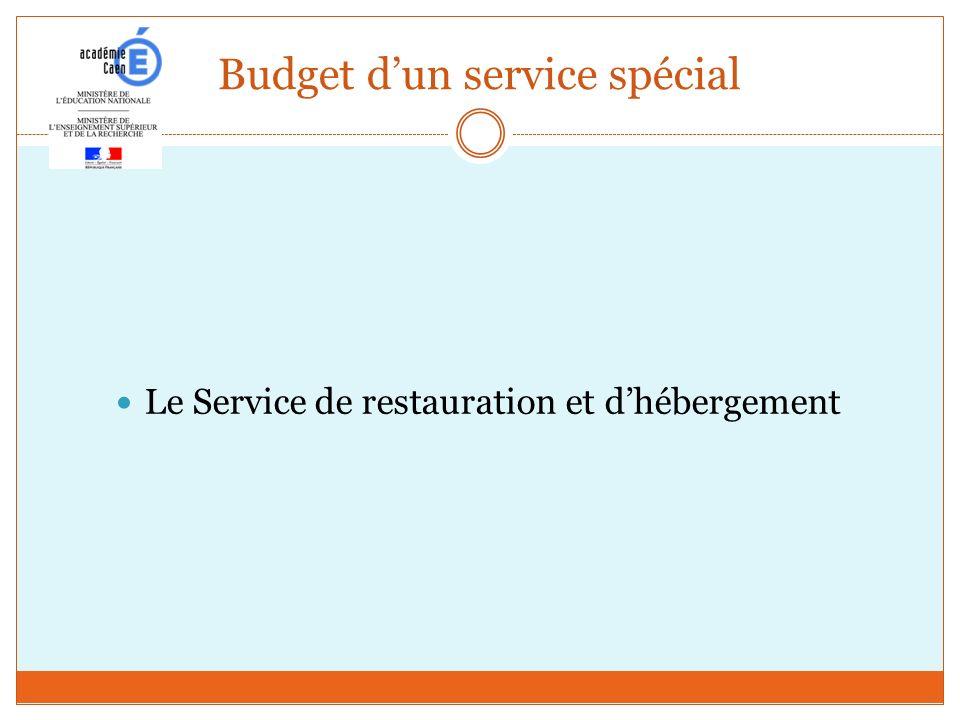 Budget dun service spécial Le Service de restauration et dhébergement
