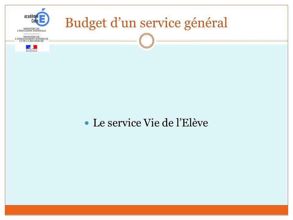 Budget dun service général Le service Vie de lElève