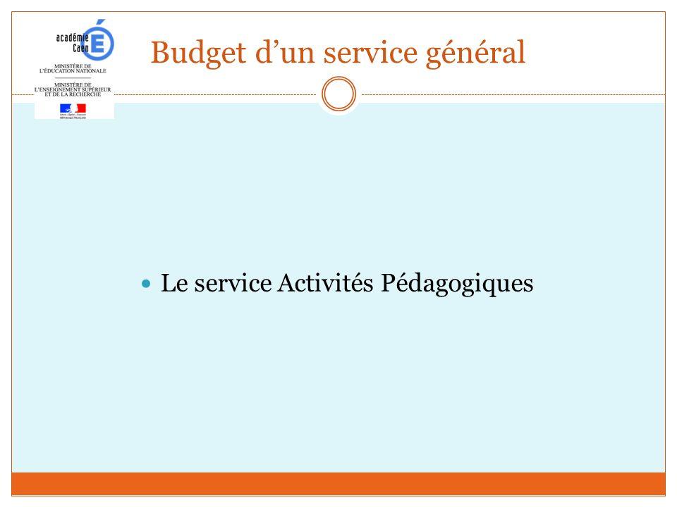 Budget dun service général Le service Activités Pédagogiques