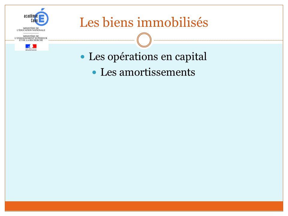 Les biens immobilisés Les opérations en capital Les amortissements