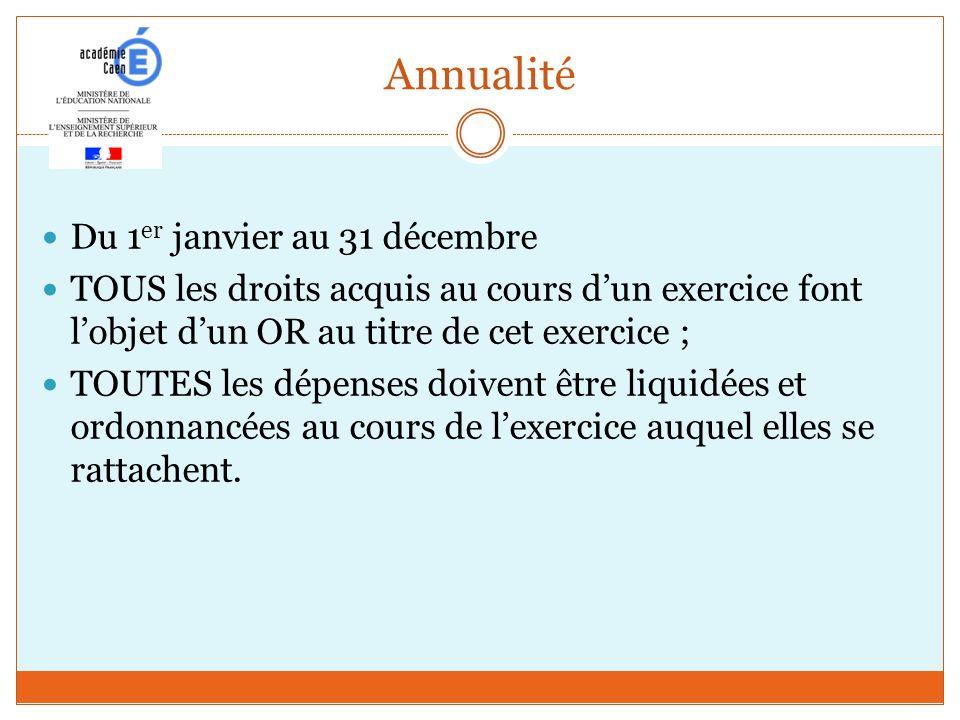 Annualité Du 1 er janvier au 31 décembre TOUS les droits acquis au cours dun exercice font lobjet dun OR au titre de cet exercice ; TOUTES les dépense
