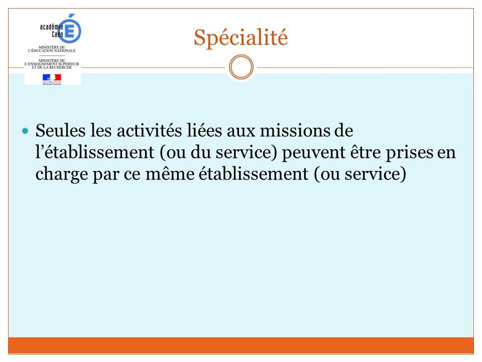 Spécialité Seules les activités liées aux missions de létablissement (ou du service) peuvent être prises en charge par ce même établissement (ou servi