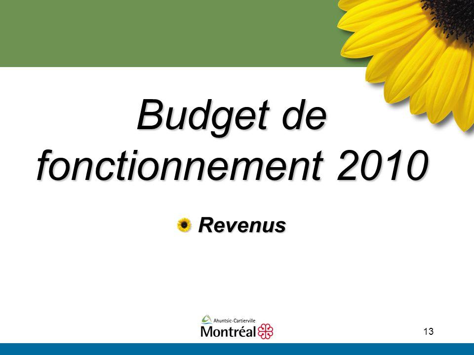 13 Budget de fonctionnement 2010 Revenus Revenus