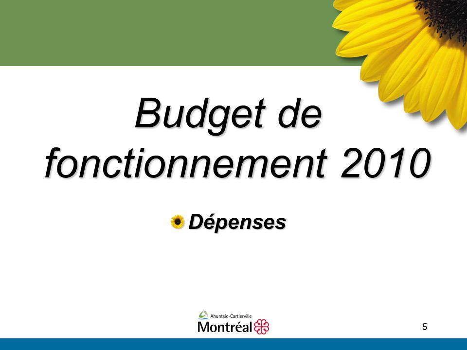 5 Budget de fonctionnement 2010 Dépenses