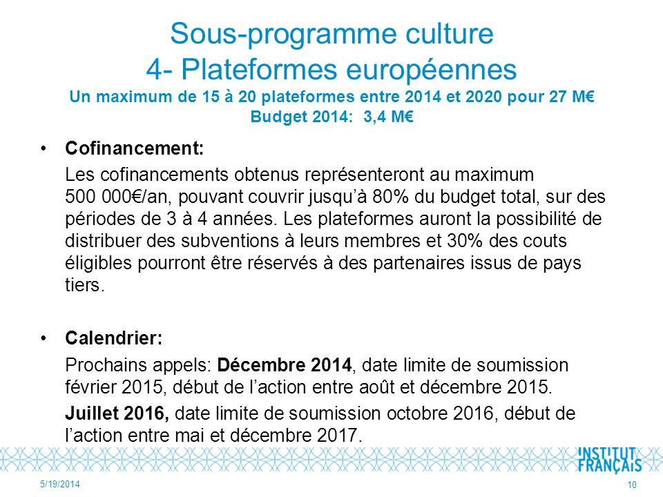 Sous-programme culture 4- Plateformes européennes Un maximum de 15 à 20 plateformes entre 2014 et 2020 pour 27 M Budget 2014: 3,4 M Cofinancement: Les cofinancements obtenus représenteront au maximum 500 000/an, pouvant couvrir jusquà 80% du budget total, sur des périodes de 3 à 4 années.