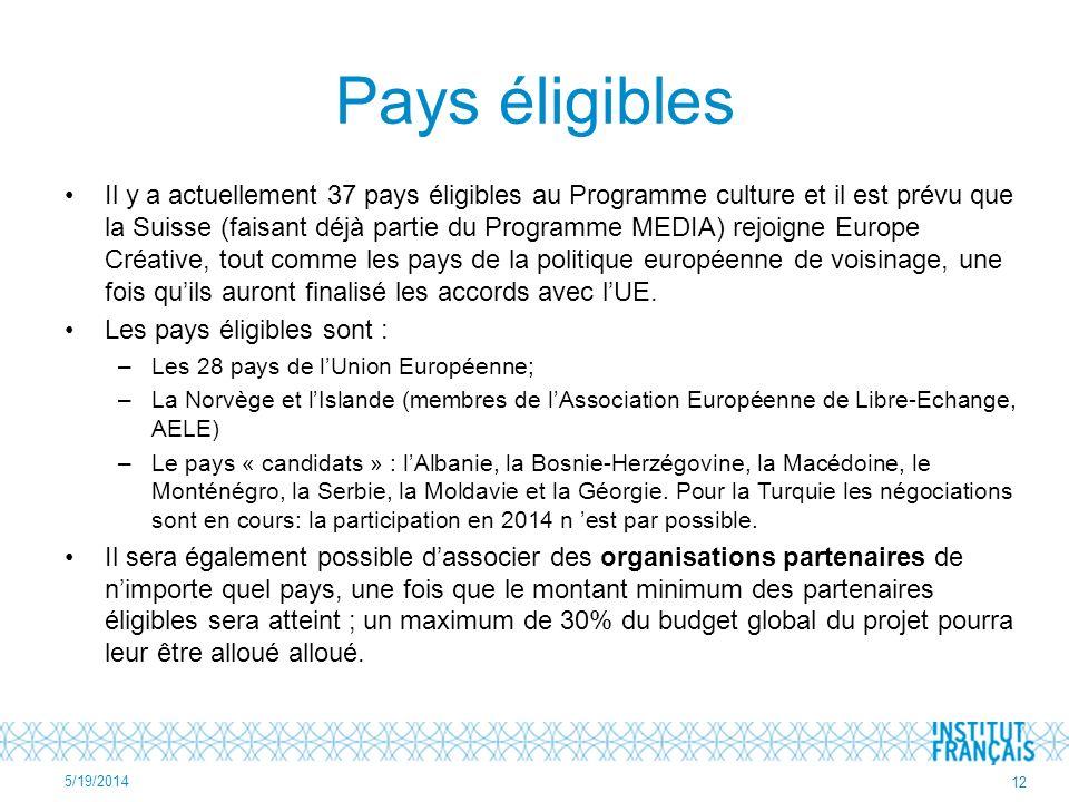 Pays éligibles Il y a actuellement 37 pays éligibles au Programme culture et il est prévu que la Suisse (faisant déjà partie du Programme MEDIA) rejoigne Europe Créative, tout comme les pays de la politique européenne de voisinage, une fois quils auront finalisé les accords avec lUE.