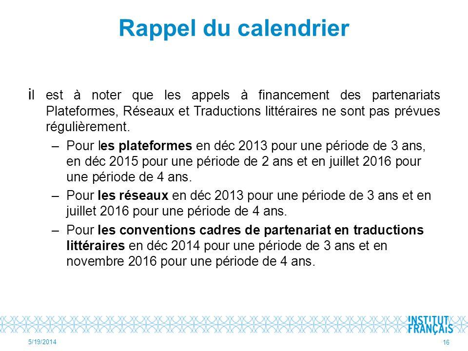 Rappel du calendrier i l est à noter que les appels à financement des partenariats Plateformes, Réseaux et Traductions littéraires ne sont pas prévues régulièrement.