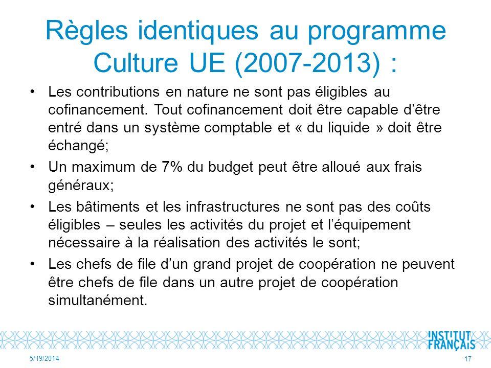 Règles identiques au programme Culture UE (2007-2013) : Les contributions en nature ne sont pas éligibles au cofinancement.