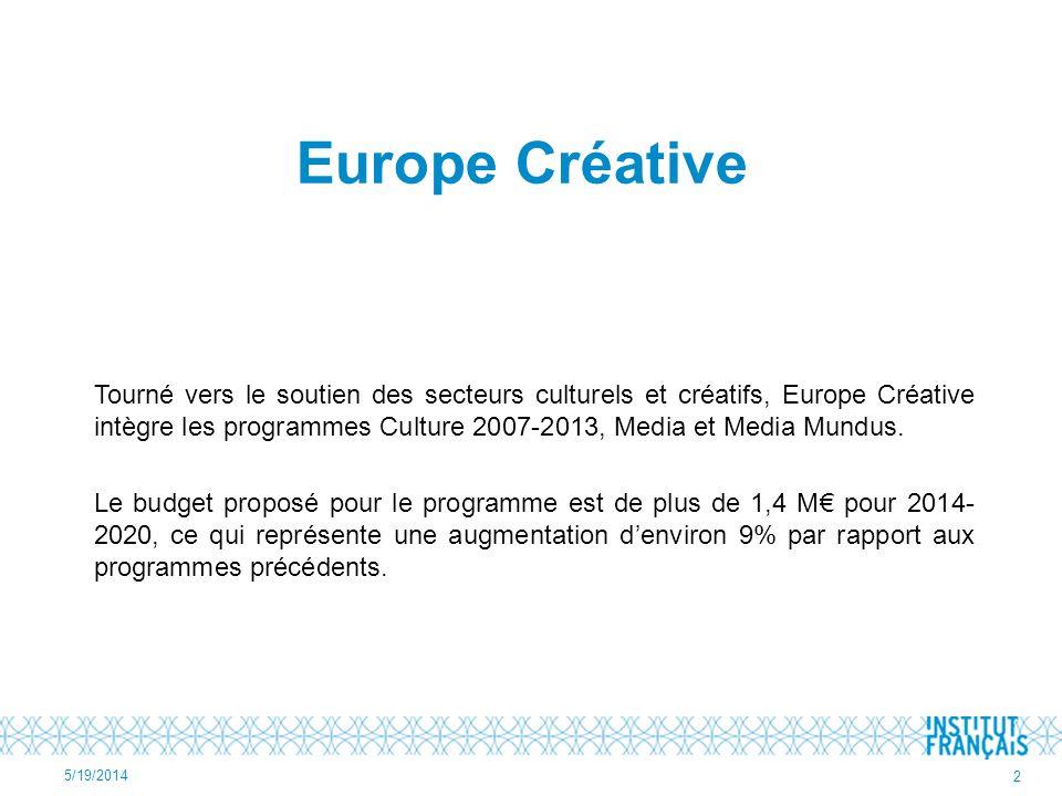 Europe Créative Tourné vers le soutien des secteurs culturels et créatifs, Europe Créative intègre les programmes Culture 2007-2013, Media et Media Mundus.