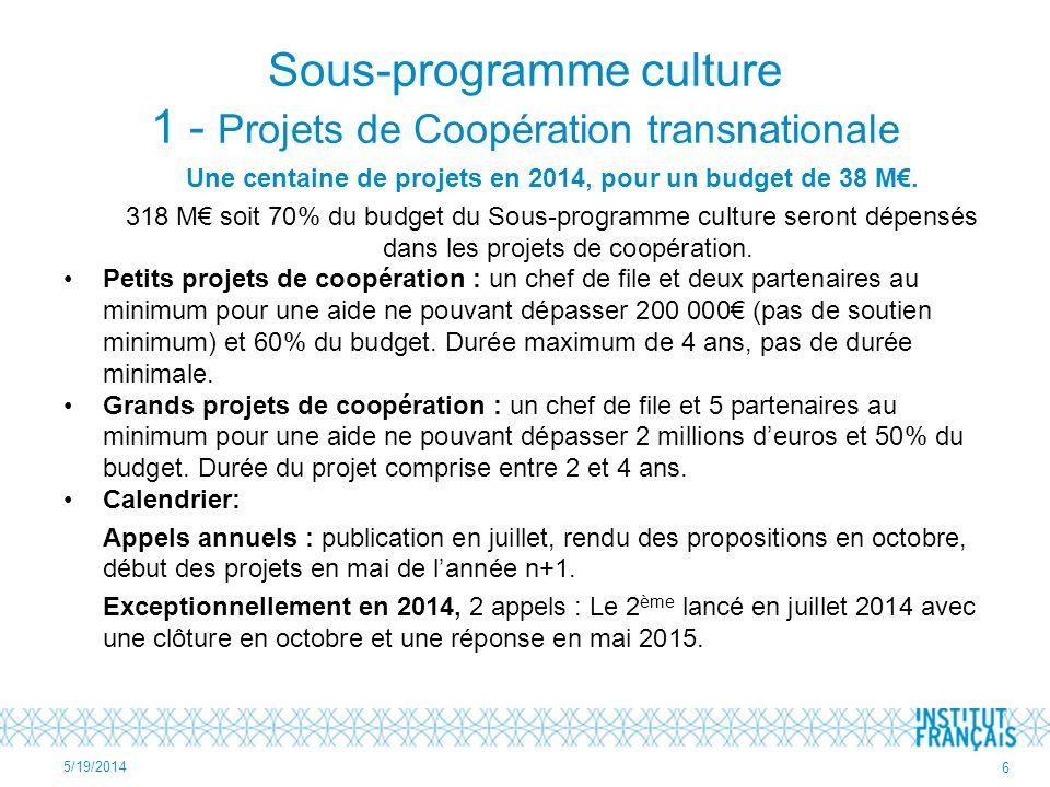 Sous-programme culture 1 - Projets de Coopération transnationale Une centaine de projets en 2014, pour un budget de 38 M.