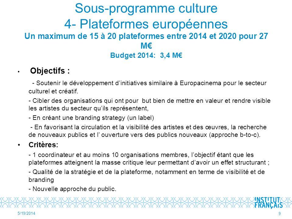 Sous-programme culture 4- Plateformes européennes Un maximum de 15 à 20 plateformes entre 2014 et 2020 pour 27 M Budget 2014: 3,4 M Objectifs : - Soutenir le développement dinitiatives similaire à Europacinema pour le secteur culturel et créatif.