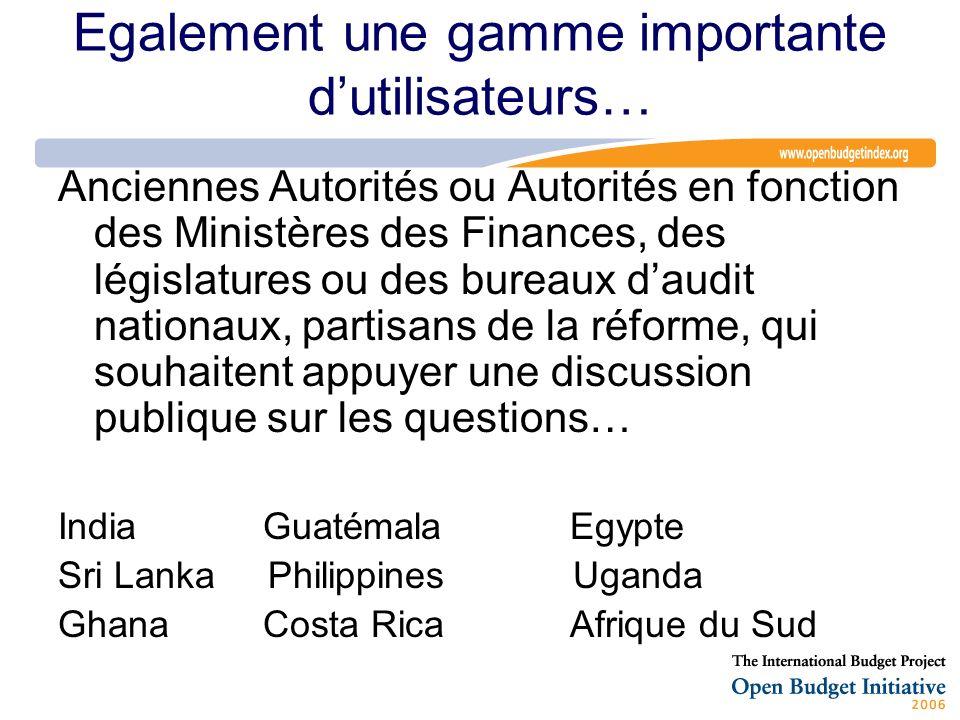 Egalement une gamme importante dutilisateurs… Anciennes Autorités ou Autorités en fonction des Ministères des Finances, des législatures ou des bureau
